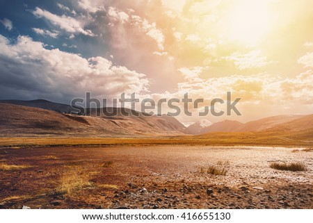 Wild Mountains Sunset Landscape - stock photo
