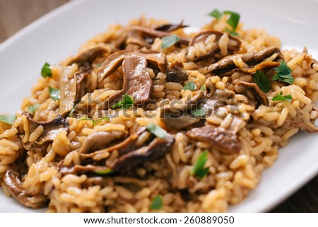 Wild mushrooms risotto with parsley and parmesan