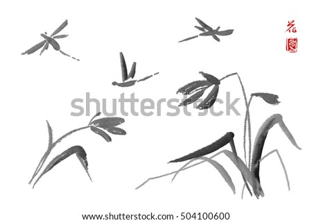 Wild Orchid On Meadow And Dragonfly Traditional Japanese Ink Painting Sumi E White