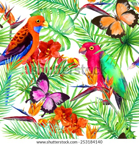 Wild parrot birds, butterflies, tropical forest and exotic flowers. Repetitive pattern. Water color  - stock photo