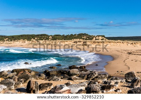 Wild picturesque Australian ocean beach with semi-circular shoreline and moderate surf, there are some rocks on foreground and sandy hills on the background. Big Marley beach, NSW, Australia - stock photo