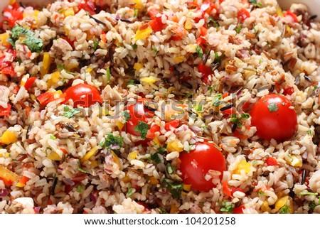 Wild rice and tomato salad - stock photo