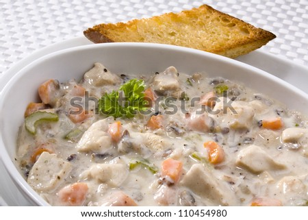 wild rice chicken soup - stock photo