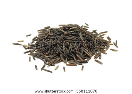 wild rice seeds on a white background