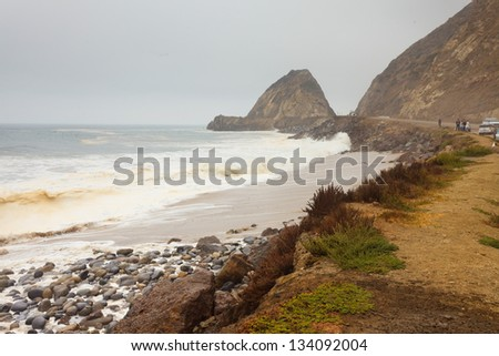 Wild rocky coast of Malibu beach. USA. California.
