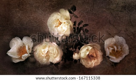 Wild roses in old oil painting style - stock photo