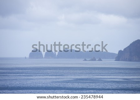 Wild steep cliffs along Tasmanian coastline close to Port Arthur in Tasman Peninsula National Park, Australia, misty overcast sky as blurred background and copy space. - stock photo