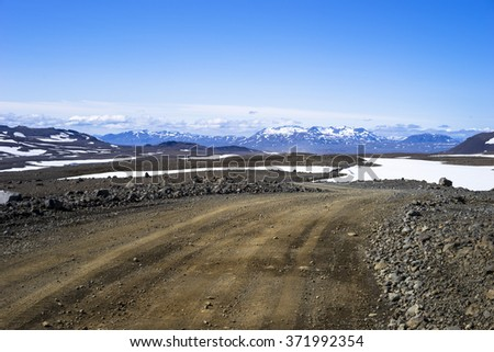 Wild track across south western highlands Iceland - stock photo