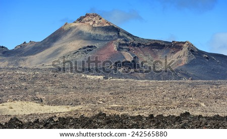 wild volcanic landscape at  Lanzarote Island, Canary Islands, Spain