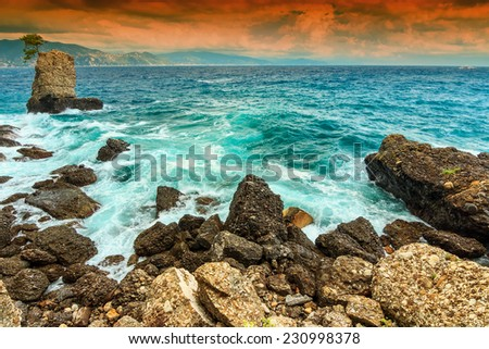 Wild waves on the Ligurian sea and beautiful sunset,Portofino,Cinque Terre,Italy,Europe - stock photo