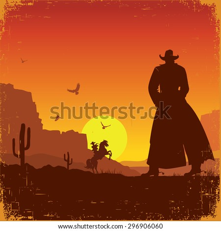 Wild West american poster.Raster - stock photo