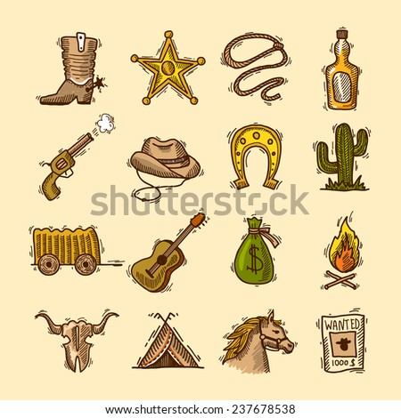 Wild west cowboy colored sketch icons set with boots badge lasso isolated  illustration