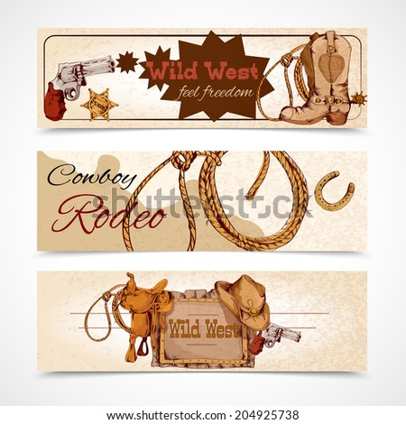 Wild west cowboy rodeo feel freedom colored banners set isolated  illustration - stock photo