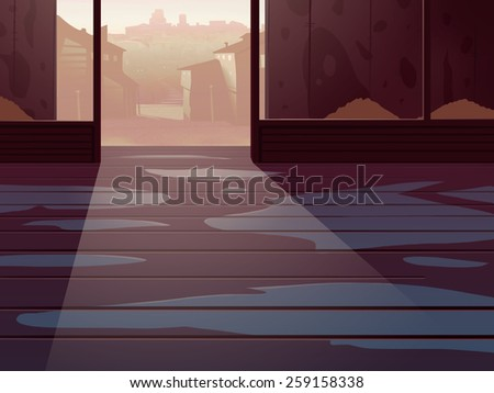 Wild West Empty Room Interior with a City Houses on backdrop. Digital background raster illustration. - stock photo