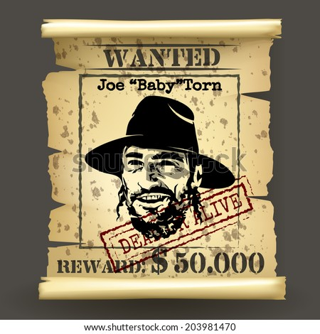 Wild west style wanted poster on dark background - stock photo