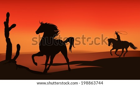 wild west sunset landscape - cowboy chasing a mustang horse - stock photo