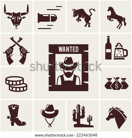Wild West wanted poster and associated icons of crossed guns  a snorting bull  rearing bull  horse  mustang  bullet  beer for a saloon  money  cowboy boot  stetson hat  cactus illustrations - stock photo