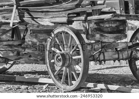 Wild West Wooden Buckboard in black and white - stock photo