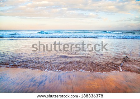 Wilderness Beach at sunset, South Africa - stock photo
