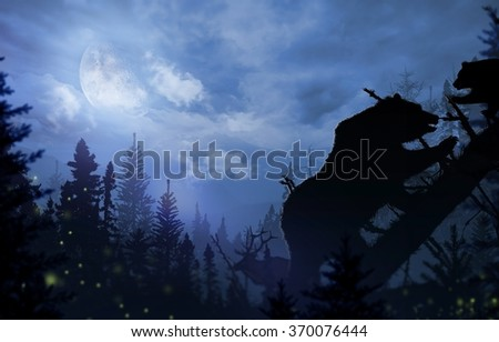 Wilderness Bears and Deer. Mama Bear with Bear Cup Playing on a Fallen Spruce Tree. Night time in the Wilderness Illustration.