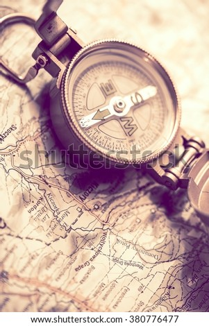 Wilderness Hiker Equipment. Compass and Map Travel Theme.
