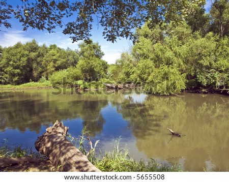Wilderness surrounds an arm of Clinton Lake in Kansas - stock photo