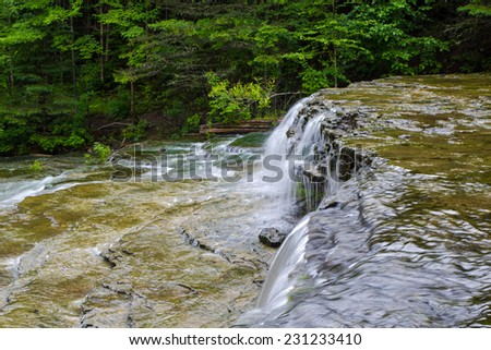 Wilderness Waterfall. Beautiful Au Train Falls is one of many waterfalls in Alger County, Michigan. - stock photo