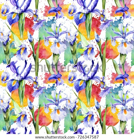 Wildflower iris flower pattern in a watercolor style. Full name of the plant: blue iris. Aquarelle wild flower for background, texture, wrapper pattern, frame or border.