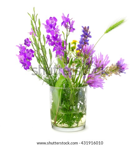 Wildflowers in glass isolated on white background. - stock photo