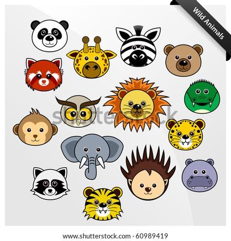 Wildlife Animal Cute Cartoon - stock photo