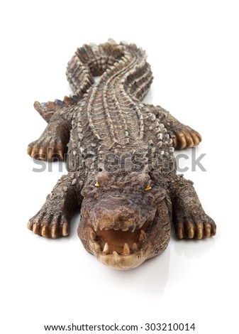 Wildlife crocodile open mouth. Isolated on white background - stock photo