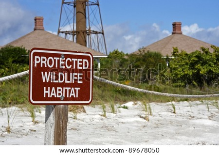Wildlife Habitat Warning Sign on Sanibel Island, Florida