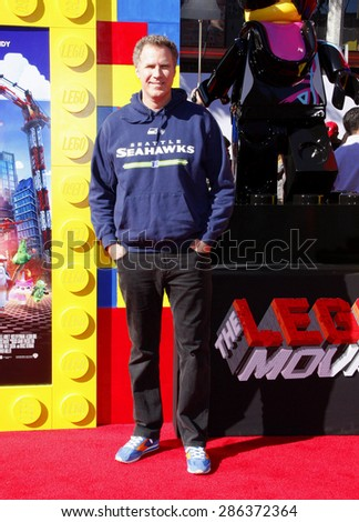 """Will Ferrell at the Los Angeles premiere of """"The LEGO Movie"""" held at the Regency Village Theatre in Los Angeles on February 1, 2014 in Los Angeles, California.  - stock photo"""