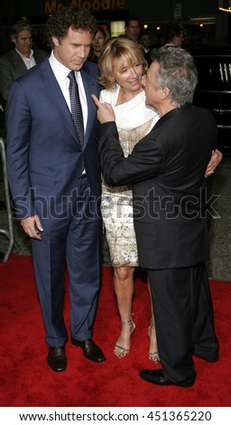 Will Ferrell, Emma Thompson and Dustin Hoffman  at the Los Angeles premiere of 'Stranger Than Fiction' held at the Mann Village Theatre in Westwood, USA on October 30, 2006.  - stock photo