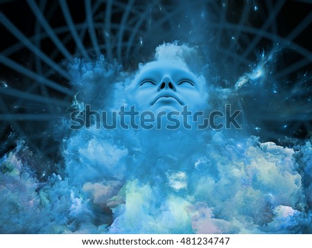 Will Universe Remember Me series. Background composition of  human face and fractal smoke nebula on the subject of human mind, imagination, memory and dreams