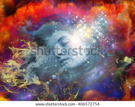 Will Universe Remember Me series. Composition of  human face and fractal smoke nebula for projects on human mind, imagination, memory and dreams - stock photo