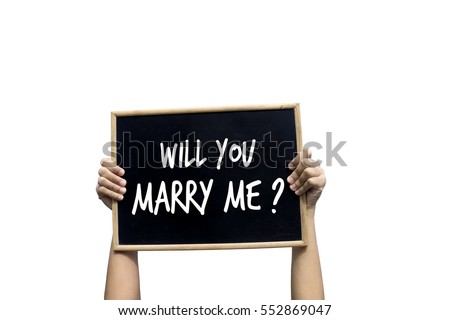 Will You Marry Me Blackboard isolated on white background