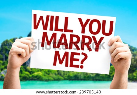 Will You Marry Me? card with a beach on background - stock photo