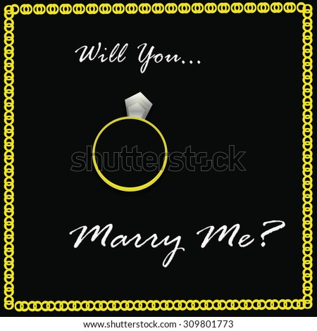Will You Marry Me Diamond Ring on Black