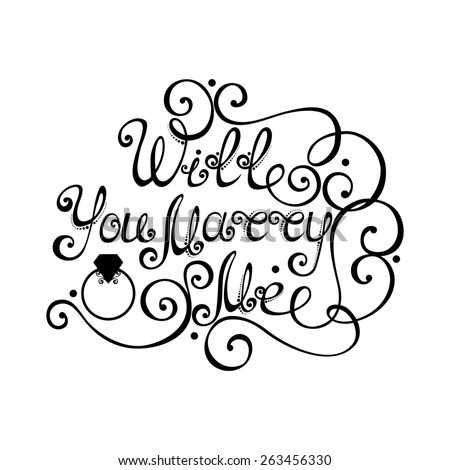 Will You Marry Me Inscription, St. Valentine's Day Symbol, Wedding. Hand Drawn Lettering. Ornate Vintage Lettering - stock photo