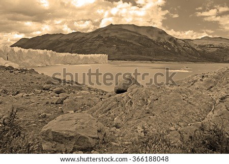 Willderness Glacial landscape in Patagonia, sepia toning - stock photo