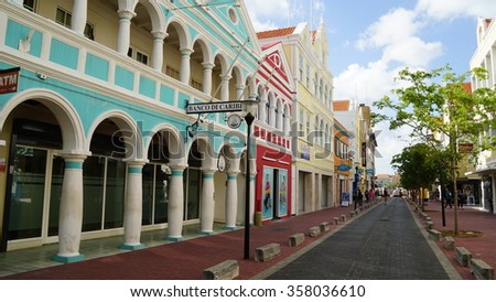 WILLEMSTAD, CURACAO - NOV 25: View of Willemstad, Curacao, as seen on Nov 25, 2015. The city centre, with its unique architecture and harbour entry, has been designated a UNESCO World Heritage Site. - stock photo