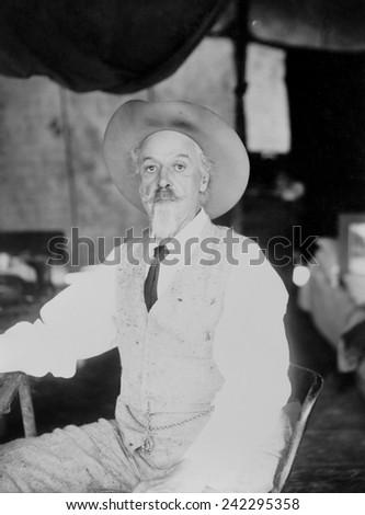 William Frederick Cody, aka Buffalo Bill (1846-1917), legendary Western scout turned Wild West Show impresario in 1911. - stock photo