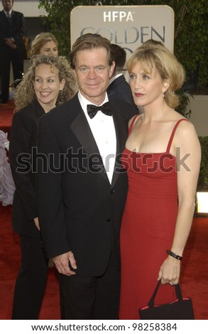 WILLIAM H. MACY & wife at the Golden Globe Awards at the Beverly Hills Hilton Hotel. 19JAN2003.  Paul Smith / Featureflash - stock photo