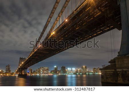 Williamsburg bridge in New York city at night