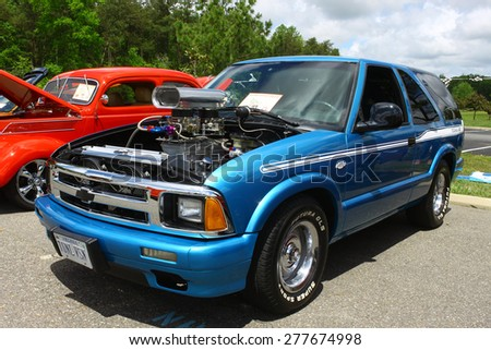 WILLIAMSBURG, VA - May 9, 2015: A Blown 1996 Chevrolet S-10 Blazer at the 6th Annual Project Lifesaver Car Show in Williamsburg Virginia on a summer day.