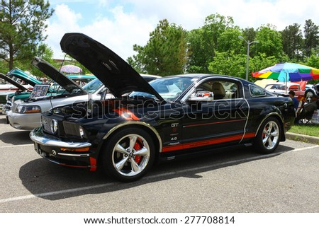 WILLIAMSBURG, VA - May 9, 2015: A 2008 Ford Mustang 4.0 at the 6th Annual Project Lifesaver Car Show in Williamsburg Virginia on a summer day. - stock photo
