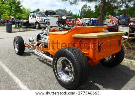 WILLIAMSBURG, VA - May 9, 2015: An old 1923 Ford T-Bucket coupe hot rod at the 6th Annual Project Lifesaver Car Show in Williamsburg Virginia on a summer day.