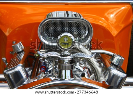 WILLIAMSBURG, VA - May 9, 2015: An old 1923 Ford T-Bucket coupe hot rod engine at the 6th Annual Project Lifesaver Car Show in Williamsburg Virginia on a summer day. - stock photo