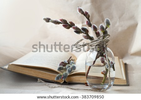 Willow in a vase and an old book, retro style. Easter Greeting Card with Branches of Small Fluffy Pussy-Willow  - stock photo